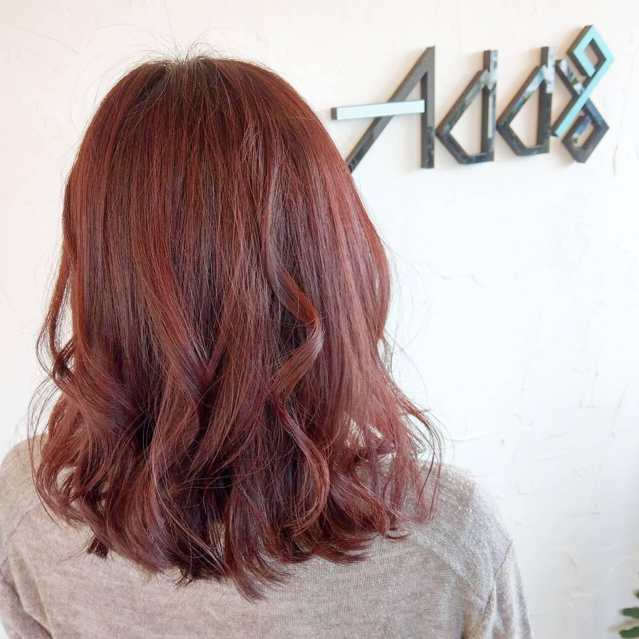エレガント 韓国ヘア ラズベリーピンク ミディアムヘアスタイルや髪型の写真・画像