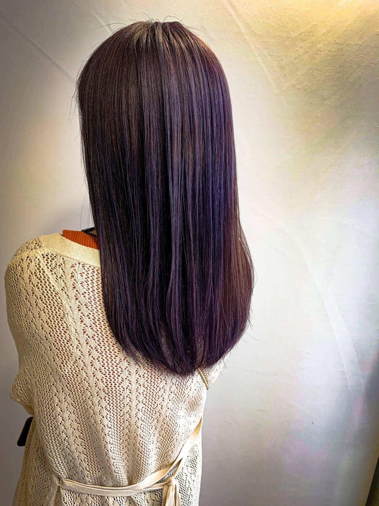 外国人風 ラベンダーアッシュ ヴァイオレット 外国人風カラーヘアスタイルや髪型の写真・画像