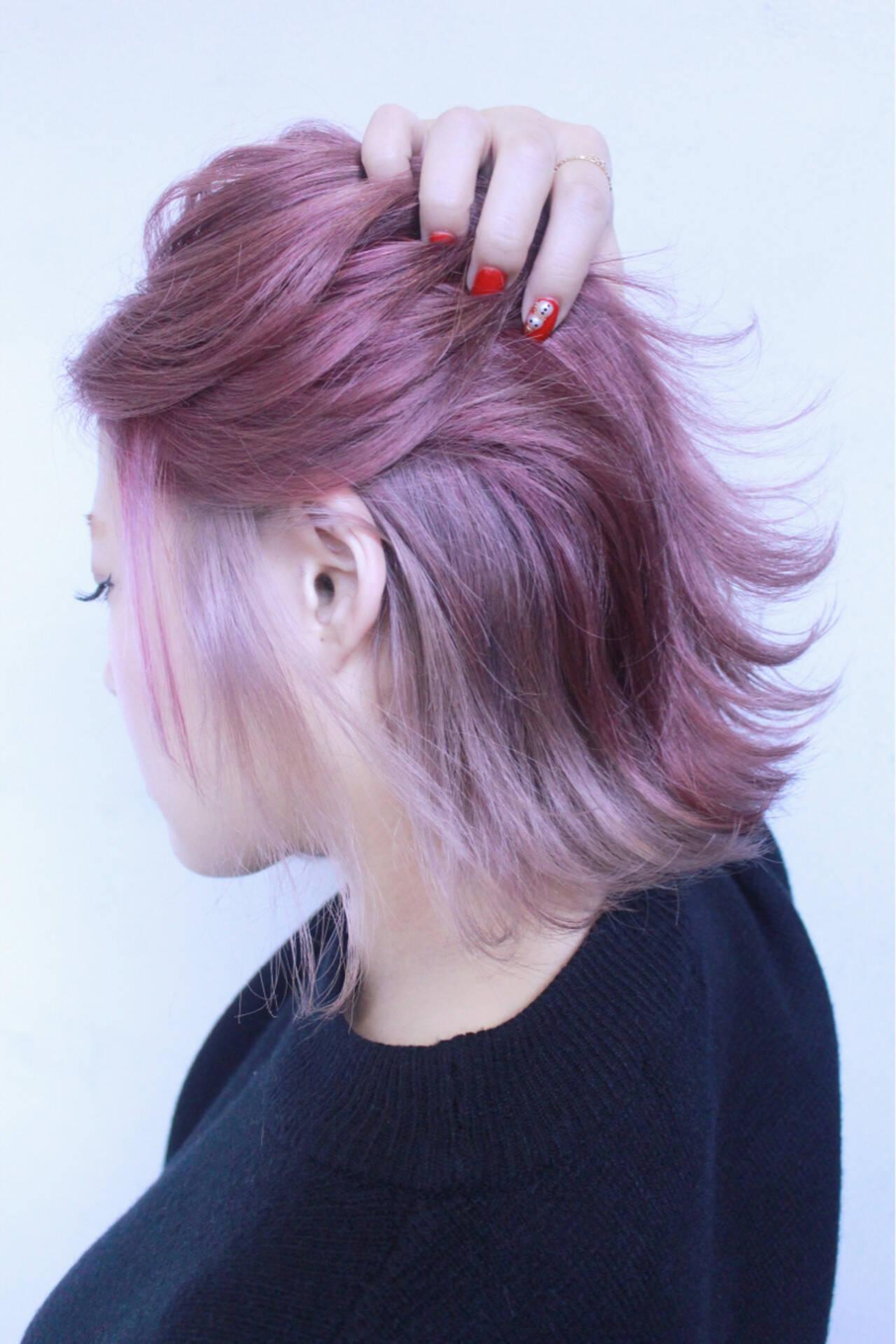 ゆるふわ ハイトーン ボブ 色気ヘアスタイルや髪型の写真・画像