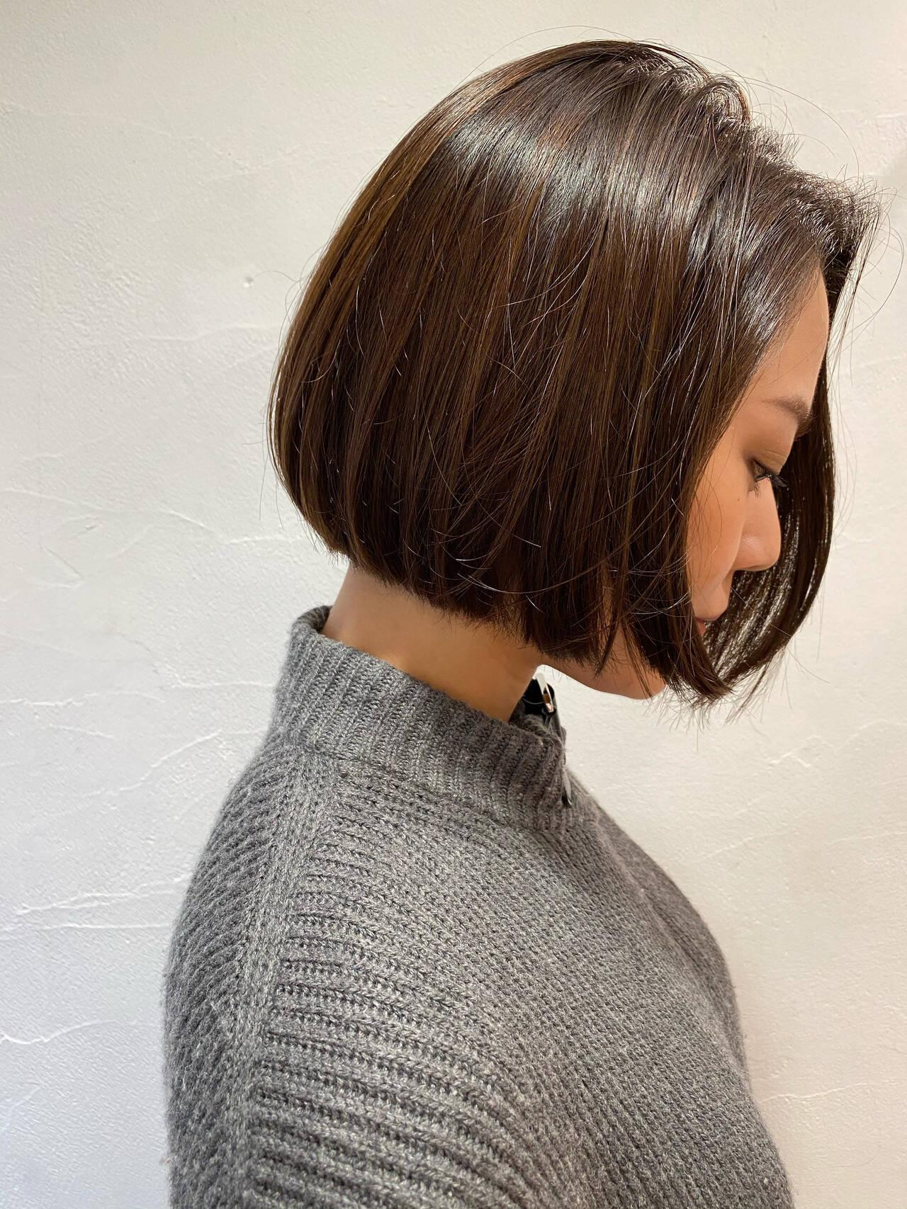 切りっぱなしボブ ショートヘア ミニボブ ベリーショートヘアスタイルや髪型の写真・画像