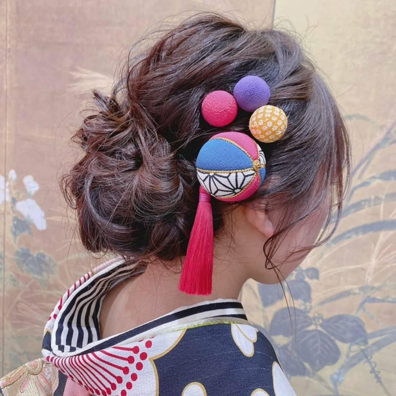 ヘアアレンジ ヘアセット ナチュラル 成人式ヘアスタイルや髪型の写真・画像