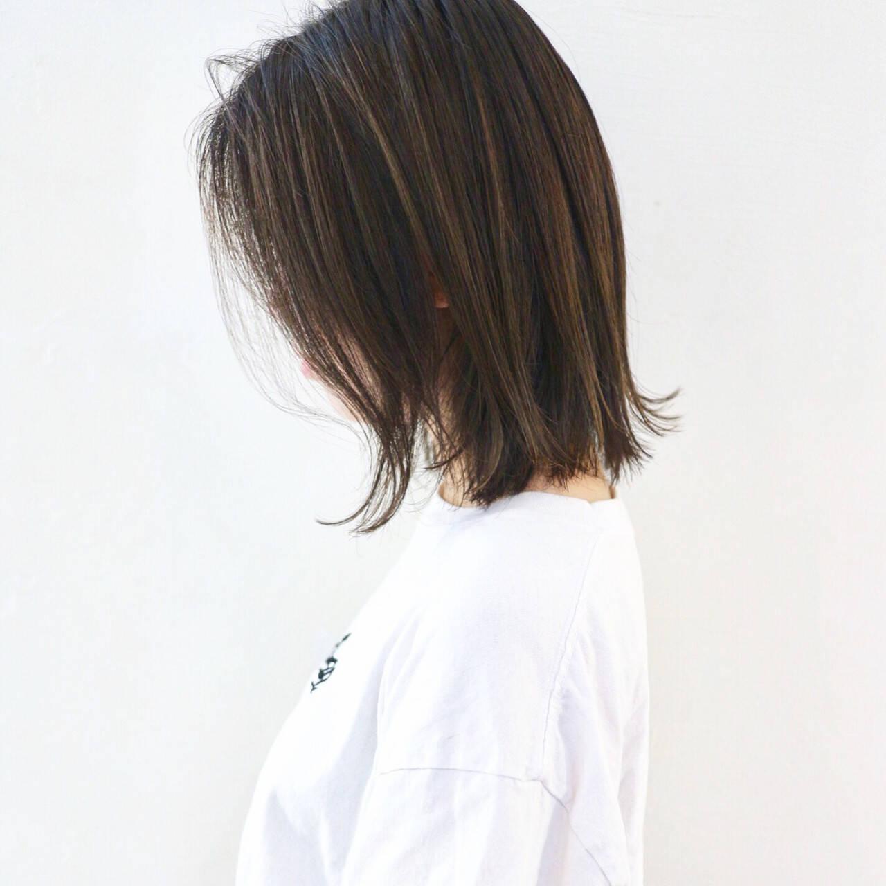 グラデーションカラー ミディアム 外ハネ ストリートヘアスタイルや髪型の写真・画像