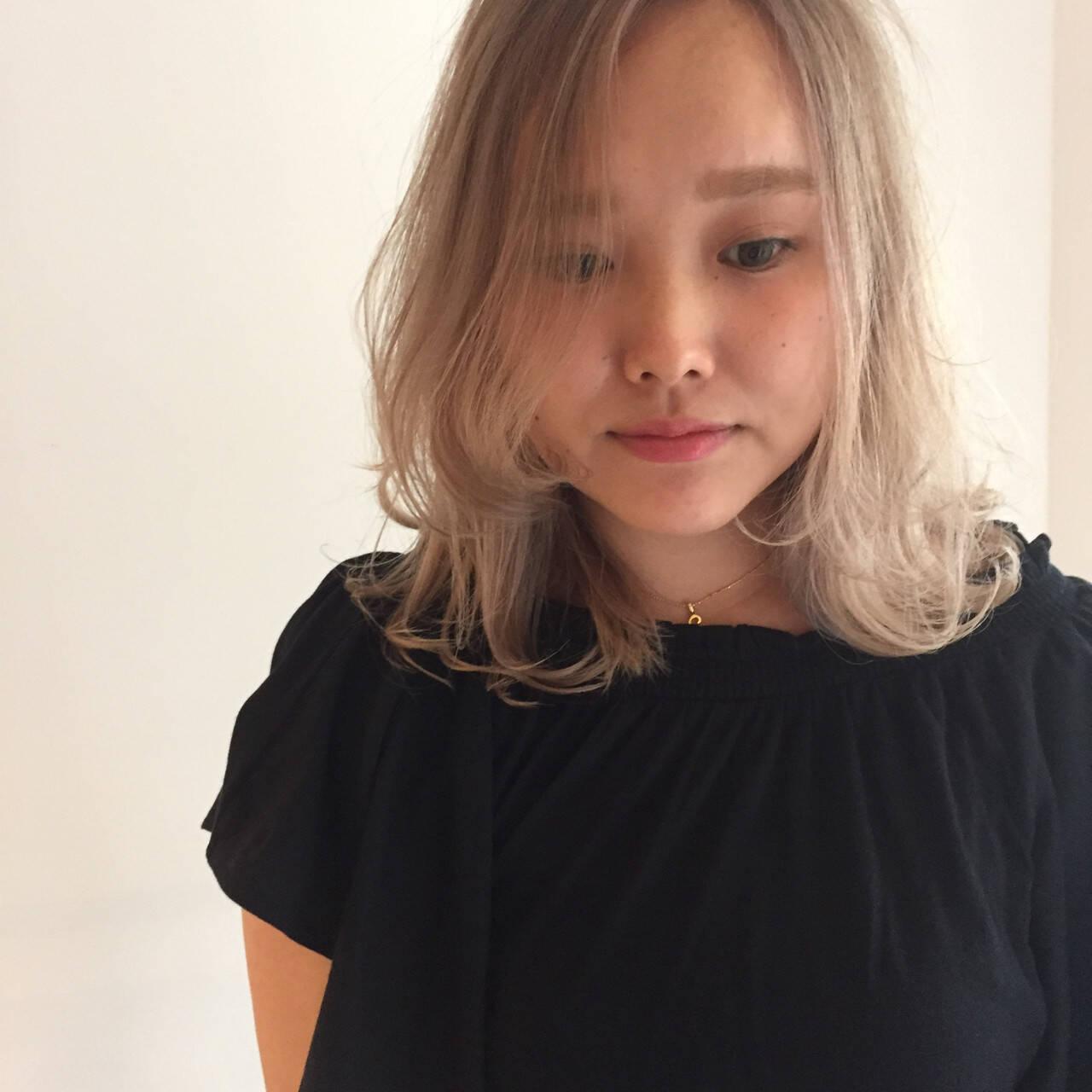 金髪 外国人風カラー ハイトーン ウェットヘアヘアスタイルや髪型の写真・画像