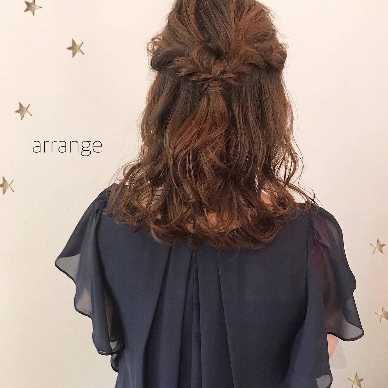ヘアアレンジ ナチュラル ミディアム デートヘアスタイルや髪型の写真・画像