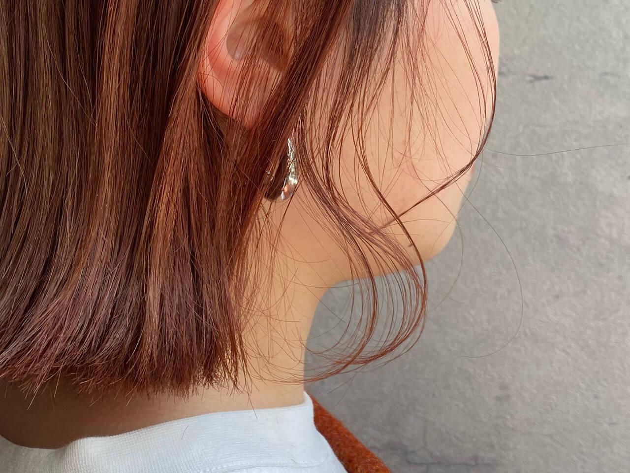 切りっぱなしボブ ピンクラベンダー ベリーピンク ナチュラルヘアスタイルや髪型の写真・画像