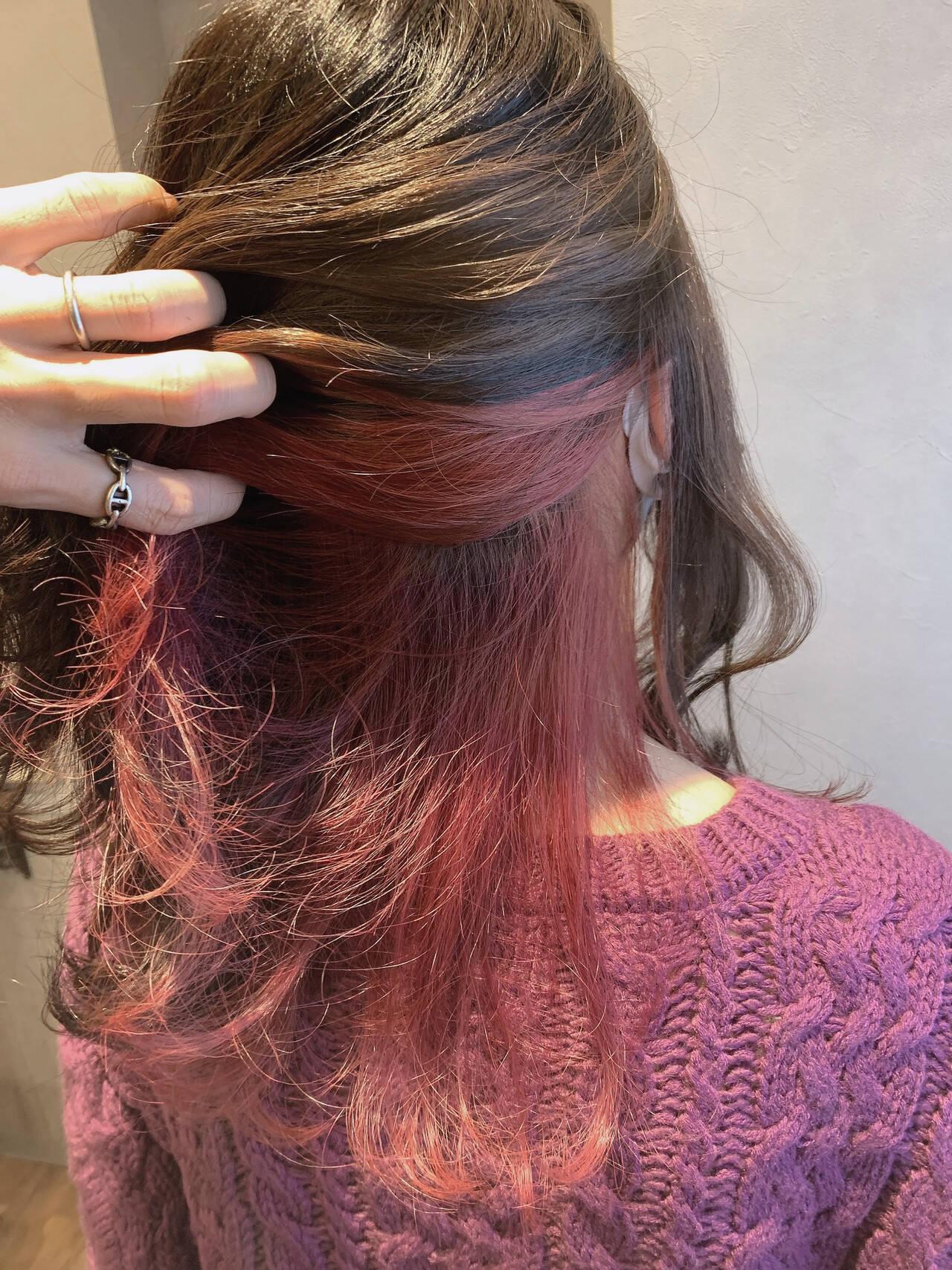 カシスレッド エレガント ローズ ロングヘアスタイルや髪型の写真・画像