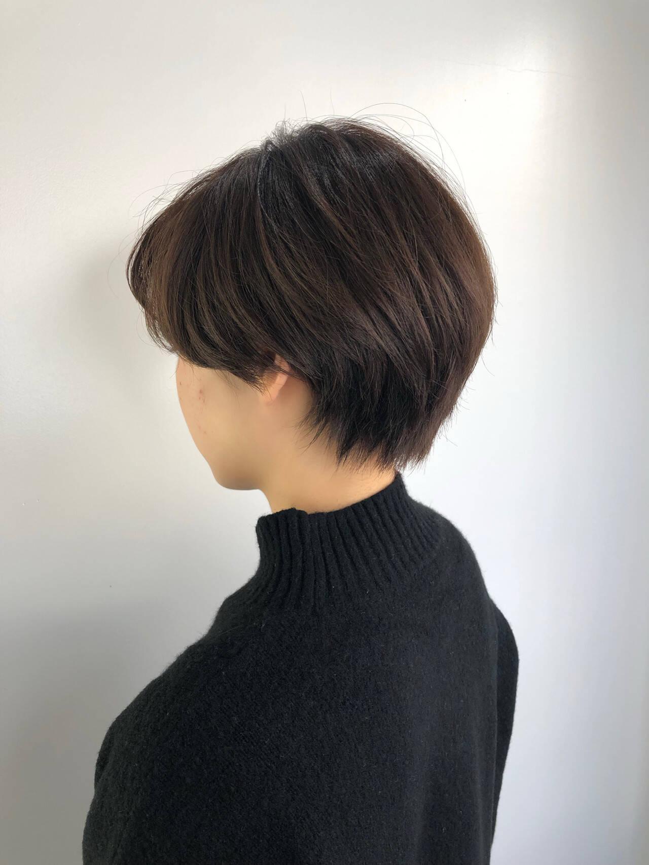 艶カラー イルミナカラー ハンサムショート ショートヘアスタイルや髪型の写真・画像