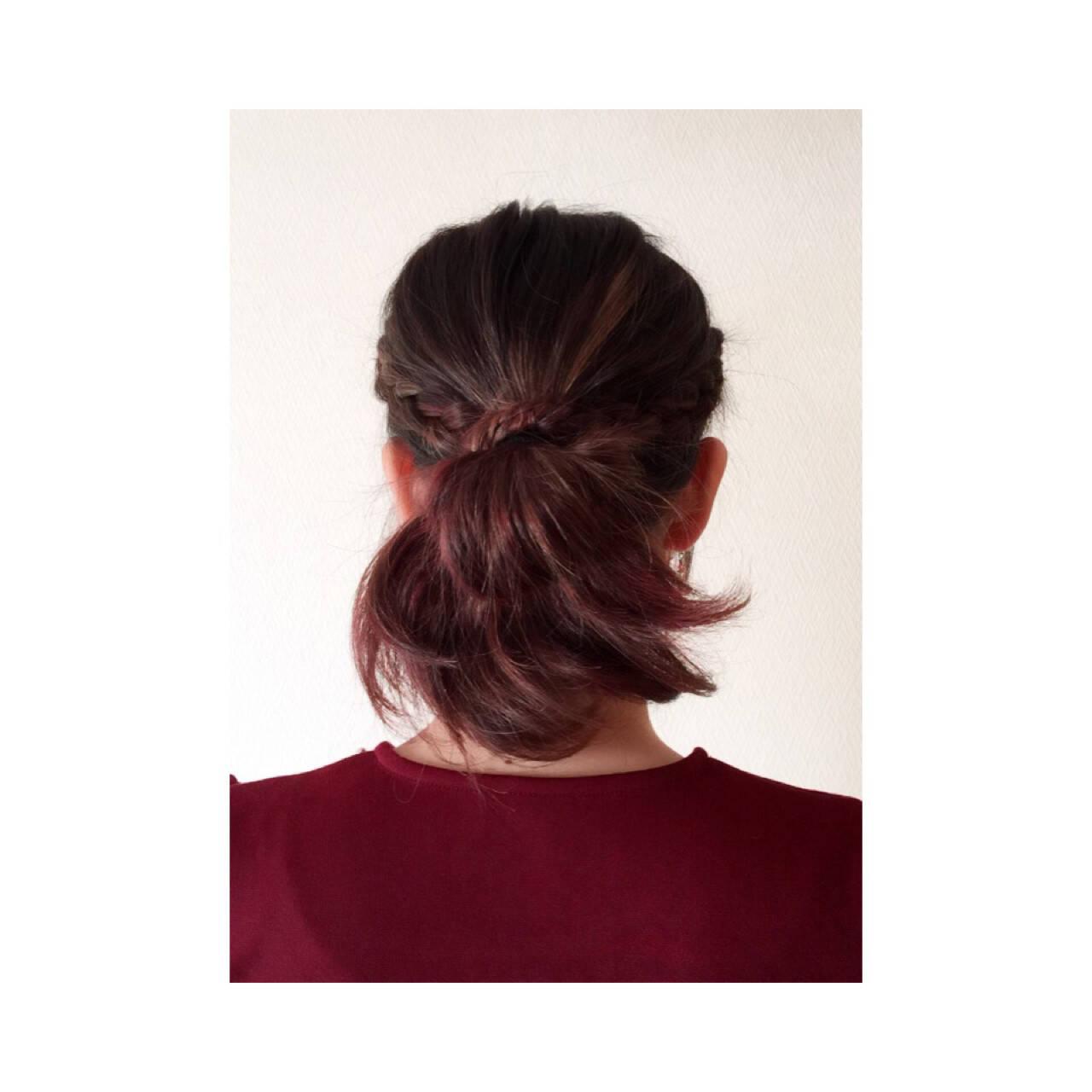 お団子 三つ編み ショート ヘアアレンジヘアスタイルや髪型の写真・画像