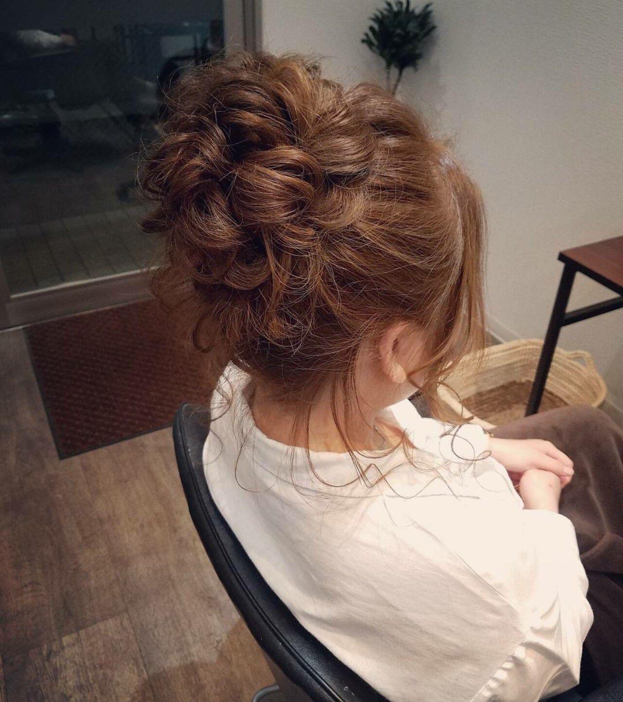 ヘアアレンジ アップスタイル お団子 ミディアムヘアスタイルや髪型の写真・画像