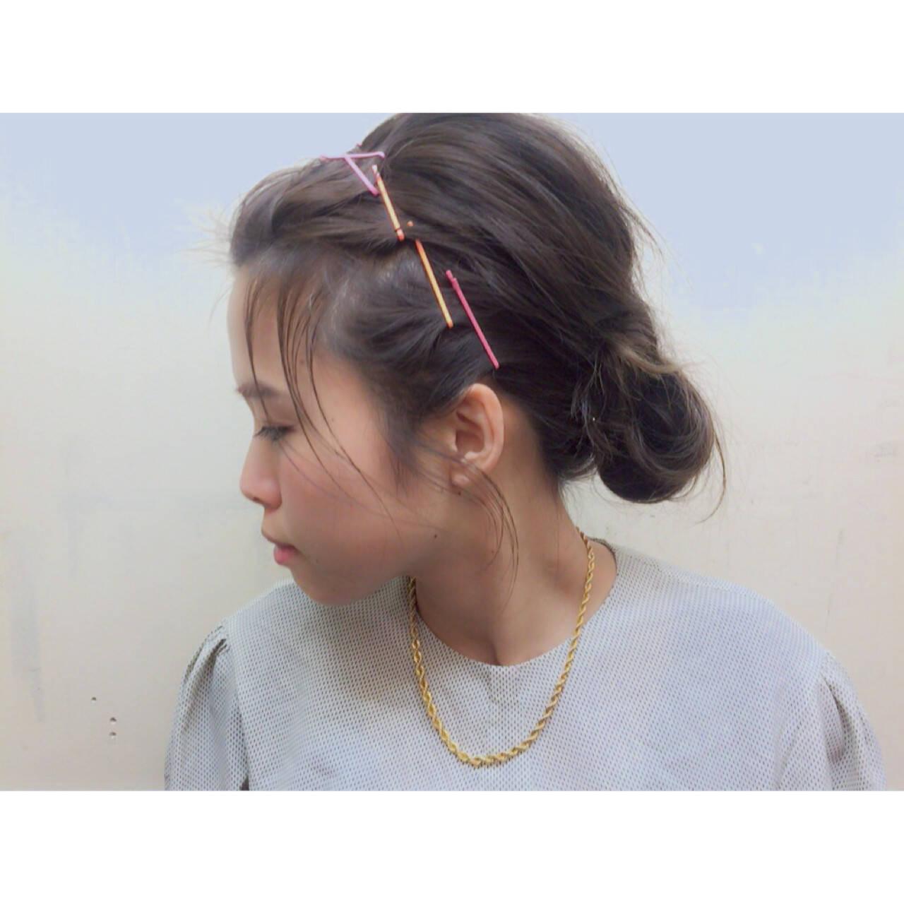 夏 ショート ミディアム 簡単ヘアアレンジヘアスタイルや髪型の写真・画像