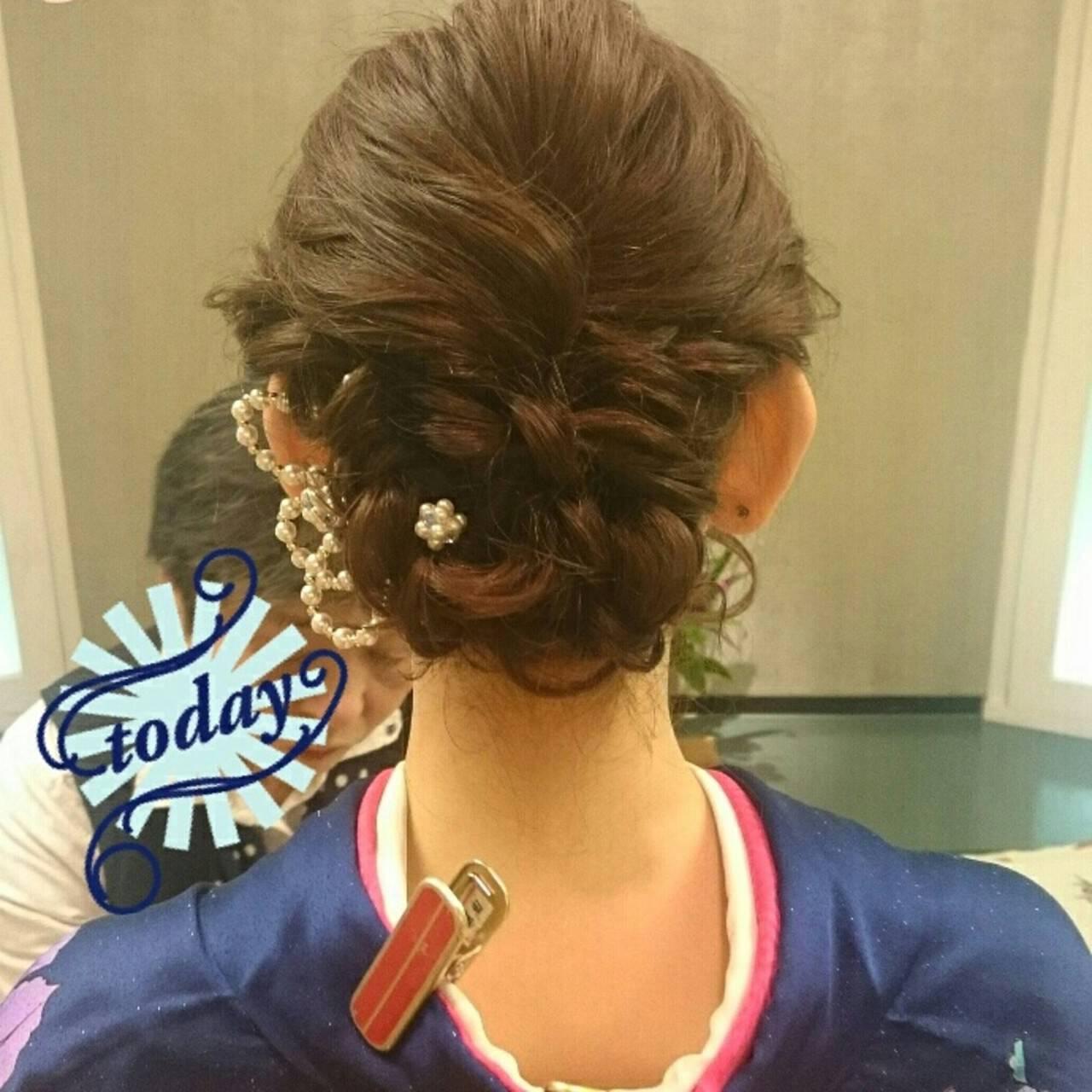 ミディアム 結婚式 着物 ブライダルヘアスタイルや髪型の写真・画像