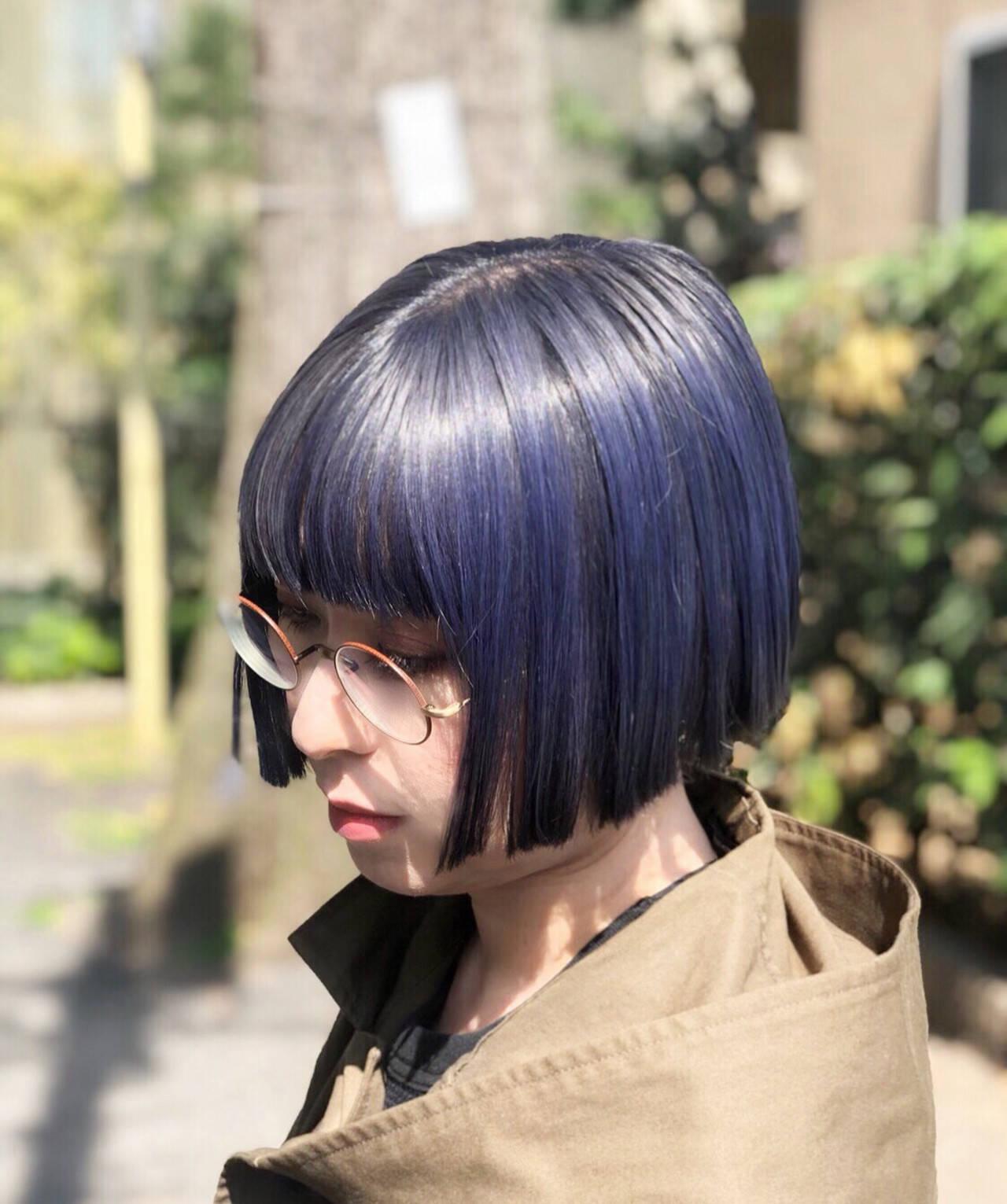 ボブ ナチュラル ユニコーンカラー インナーカラーヘアスタイルや髪型の写真・画像