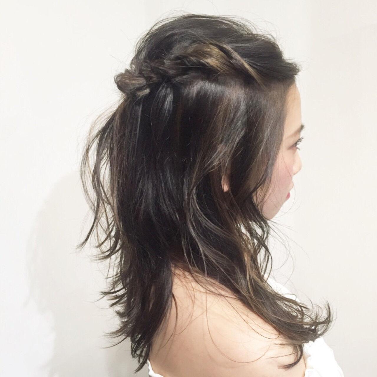 ミディアム 簡単ヘアアレンジ ハイライト ショートヘアスタイルや髪型の写真・画像