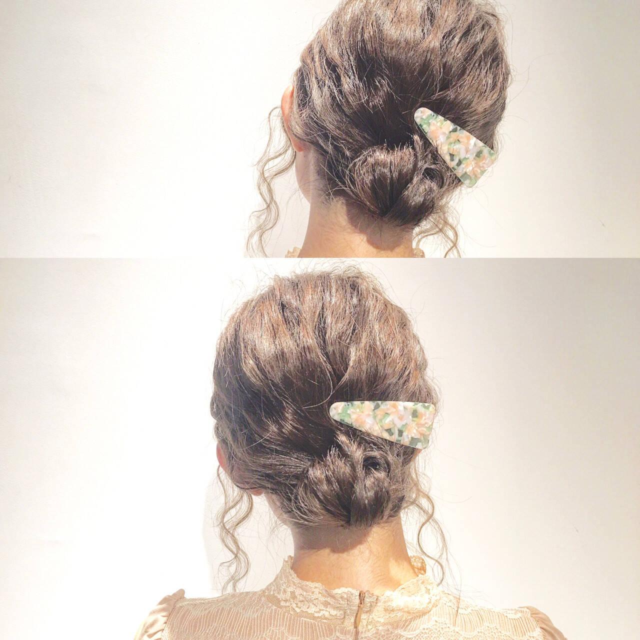 ショート ミディアム 簡単ヘアアレンジ 大人かわいいヘアスタイルや髪型の写真・画像