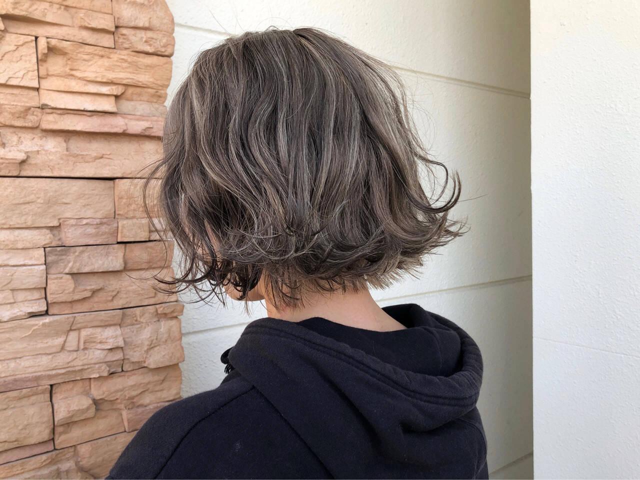 ストリート ハイライト ショートヘア ボブヘアスタイルや髪型の写真・画像