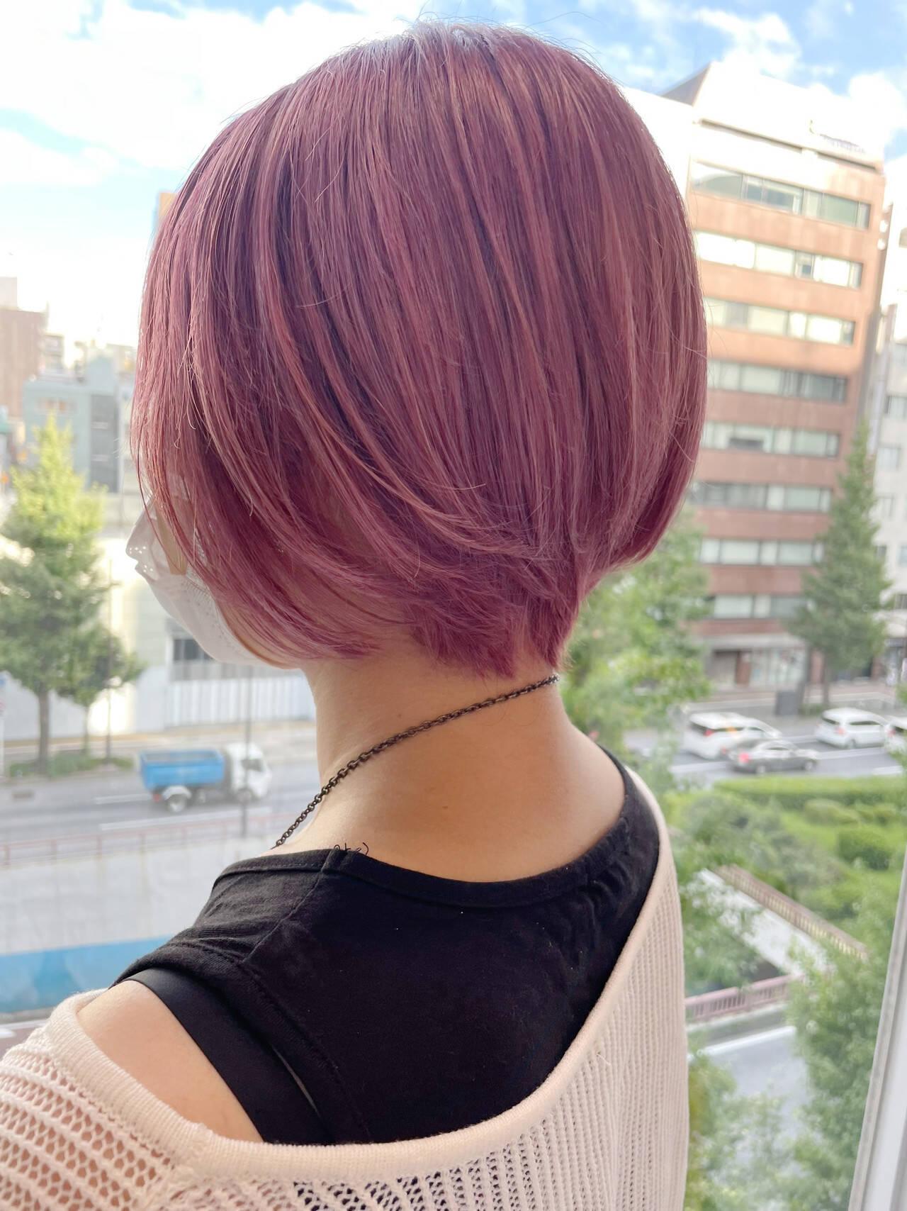 韓国ヘア 韓国風ヘアー ピンク ショートボブヘアスタイルや髪型の写真・画像