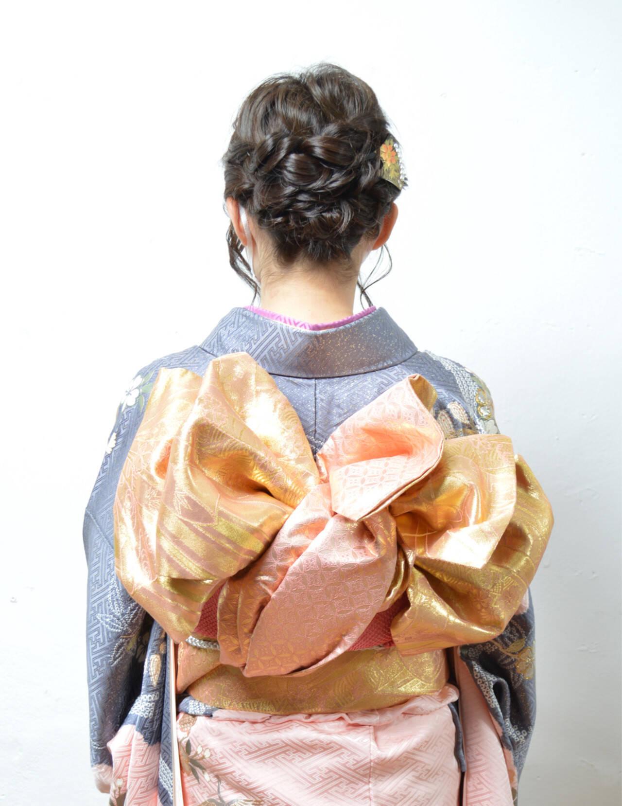 ヘアアレンジ アップスタイル ボブ 着物ヘアスタイルや髪型の写真・画像