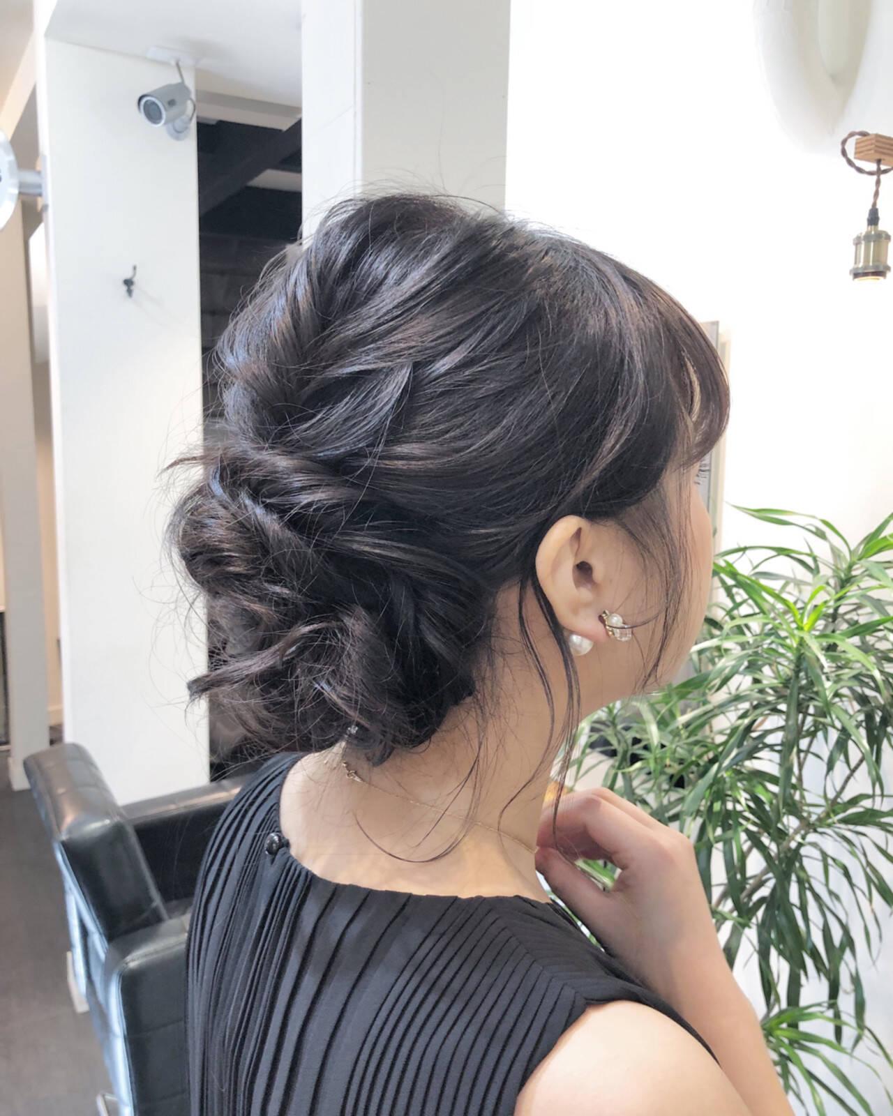 成人式 バレイヤージュ 結婚式 ミディアムヘアスタイルや髪型の写真・画像
