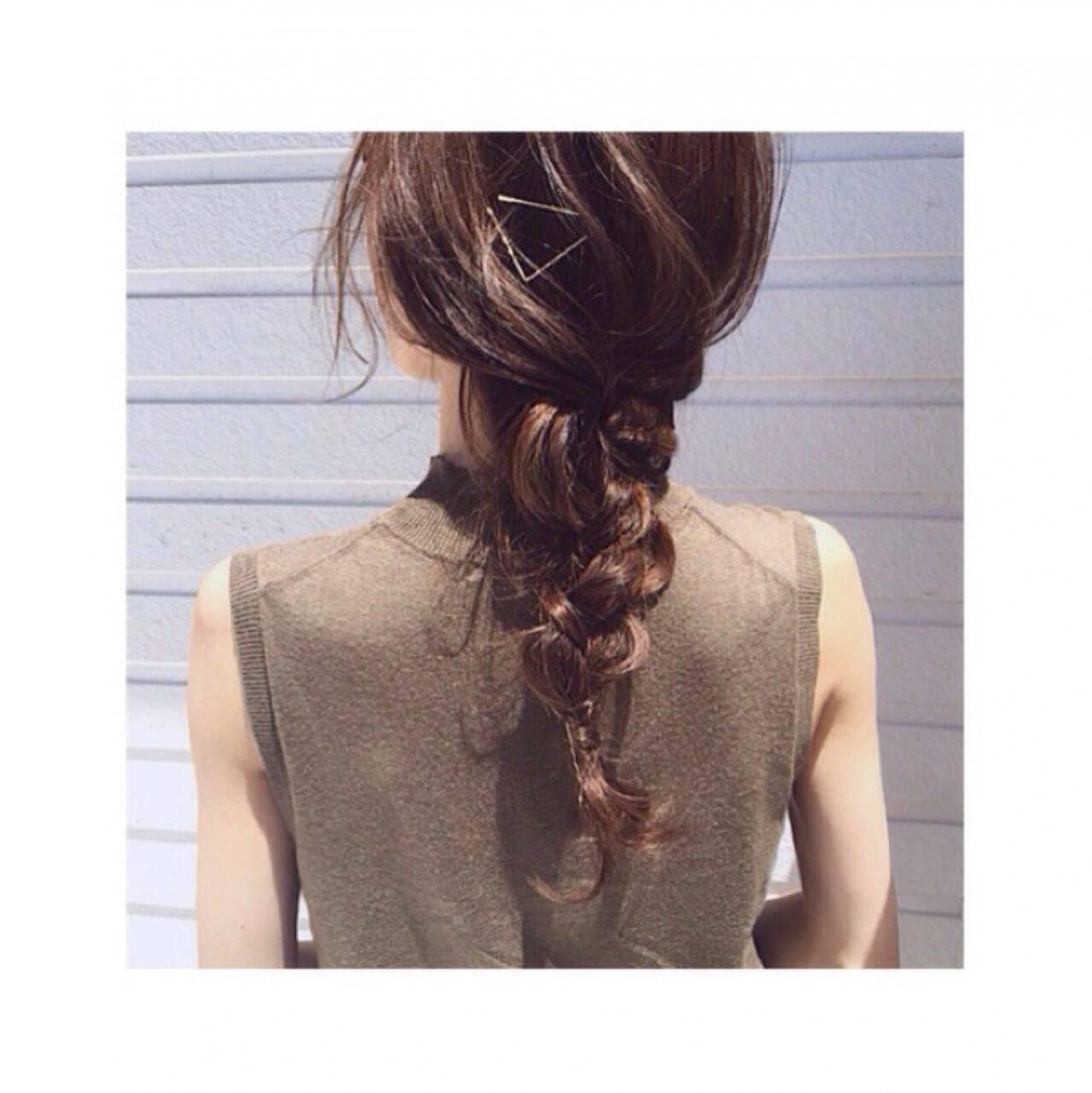 簡単ヘアアレンジ セミロング ショート ストリートヘアスタイルや髪型の写真・画像