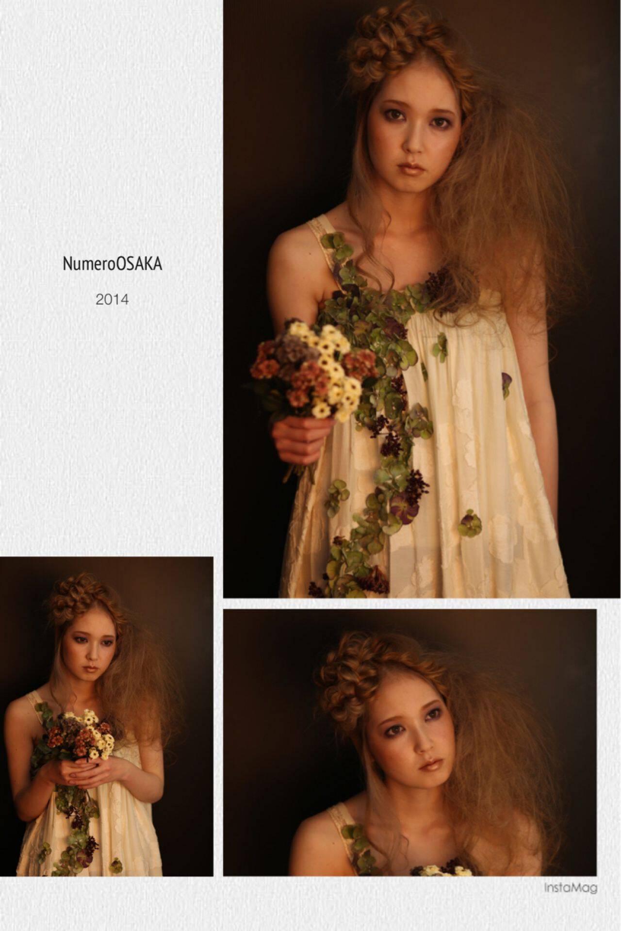 三つ編み ナチュラル ロング ヘアアレンジヘアスタイルや髪型の写真・画像