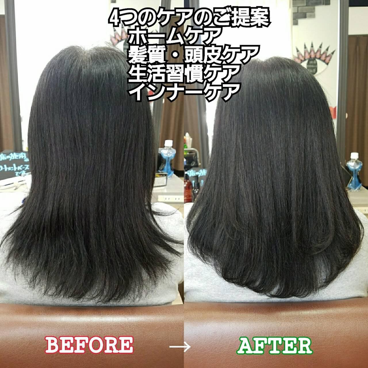 ナチュラル トリートメント セミロング 美髪ヘアスタイルや髪型の写真・画像