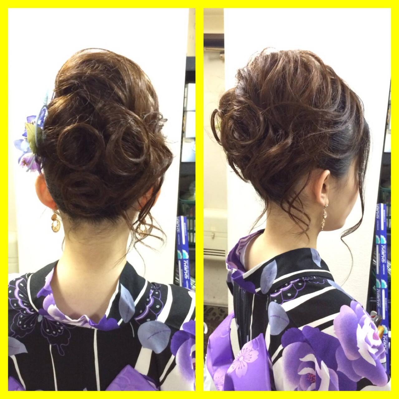 和装 夏 ヘアアレンジ セミロングヘアスタイルや髪型の写真・画像