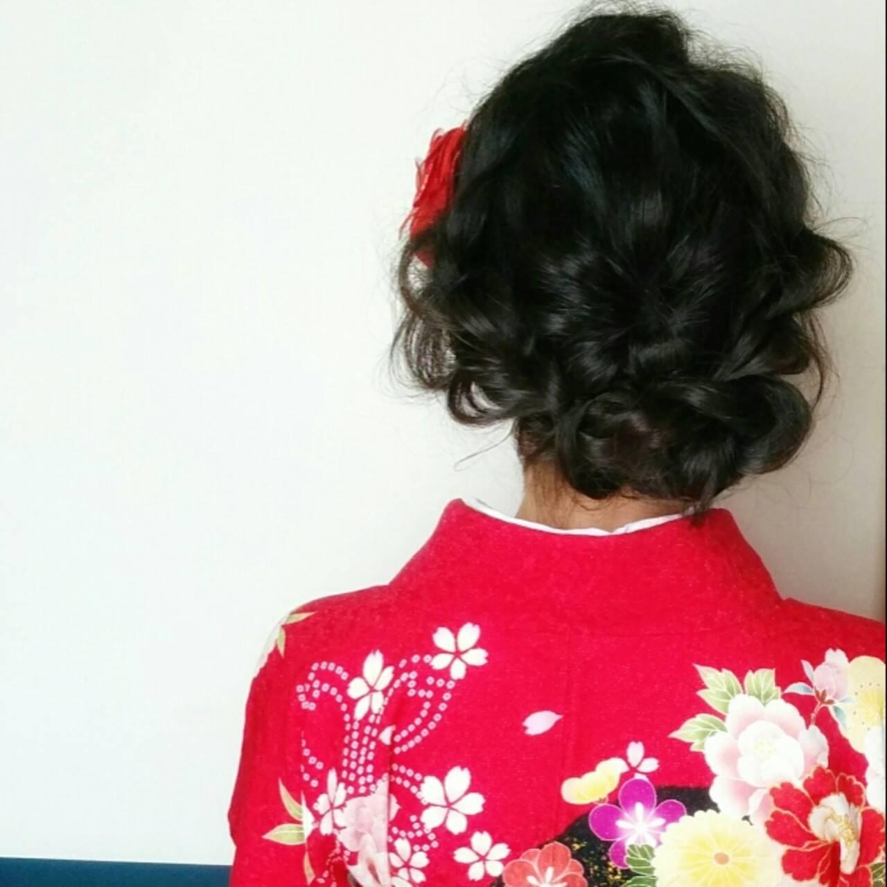 パーティ 和装 ミディアム 黒髪ヘアスタイルや髪型の写真・画像