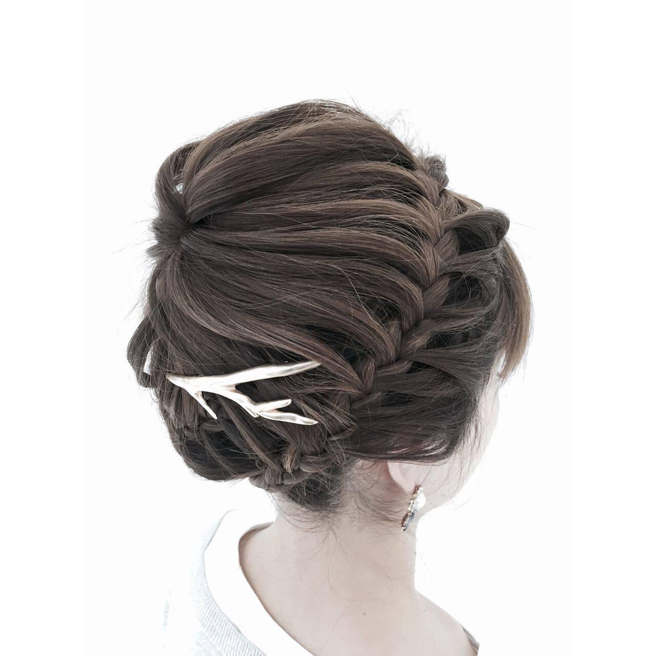 編み込み ヘアアレンジ ストリートヘアスタイルや髪型の写真・画像