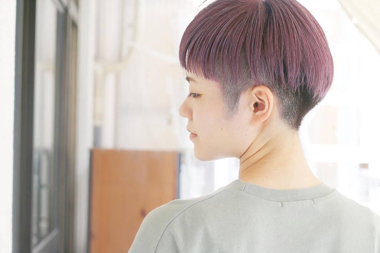 ラベンダー ストリート ラベンダーグレージュ ショートヘアスタイルや髪型の写真・画像