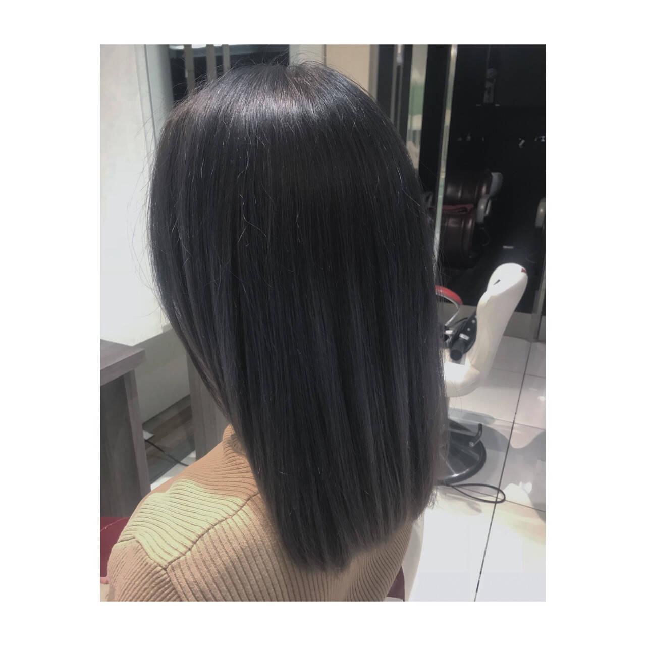 アッシュ 外国人風カラー ミディアム ブリーチヘアスタイルや髪型の写真・画像