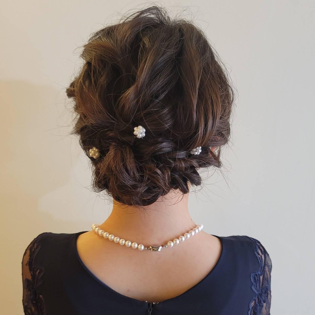 ヘアアレンジ 結婚式 結婚式ヘアアレンジ セミロングヘアスタイルや髪型の写真・画像
