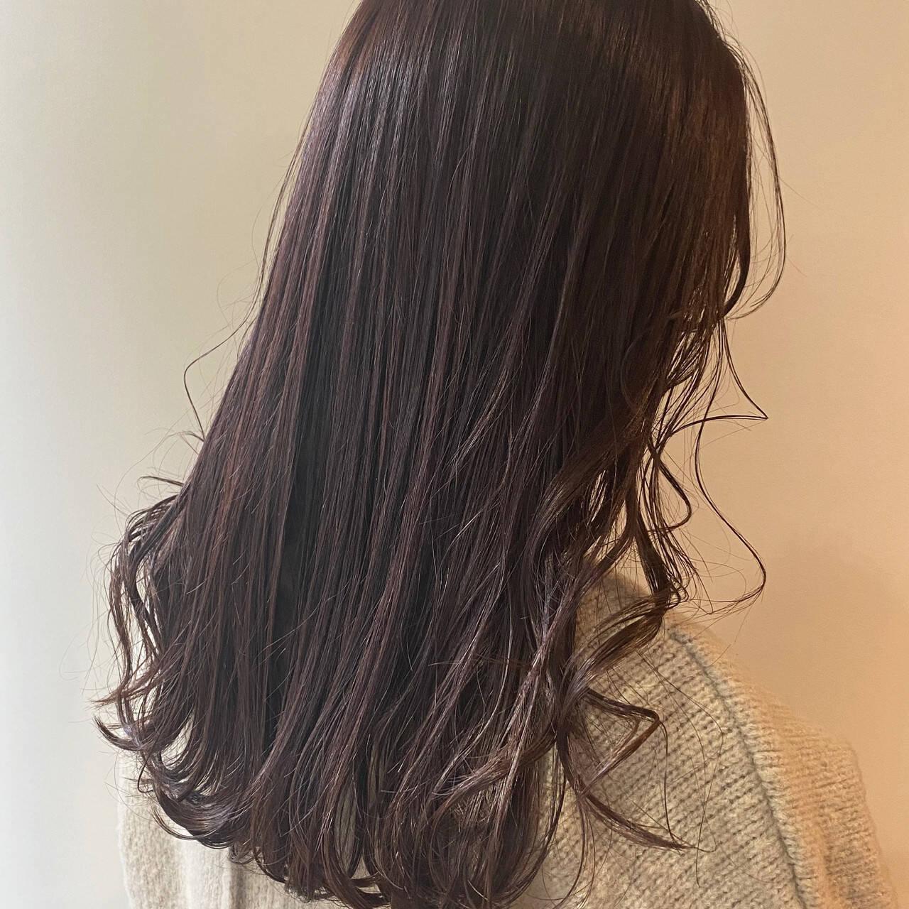ナチュラル ロング ピンクブラウン ピンクベージュヘアスタイルや髪型の写真・画像