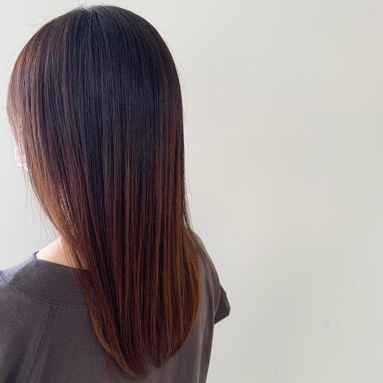 セミロング ナチュラル アンニュイほつれヘア ストレートヘアスタイルや髪型の写真・画像