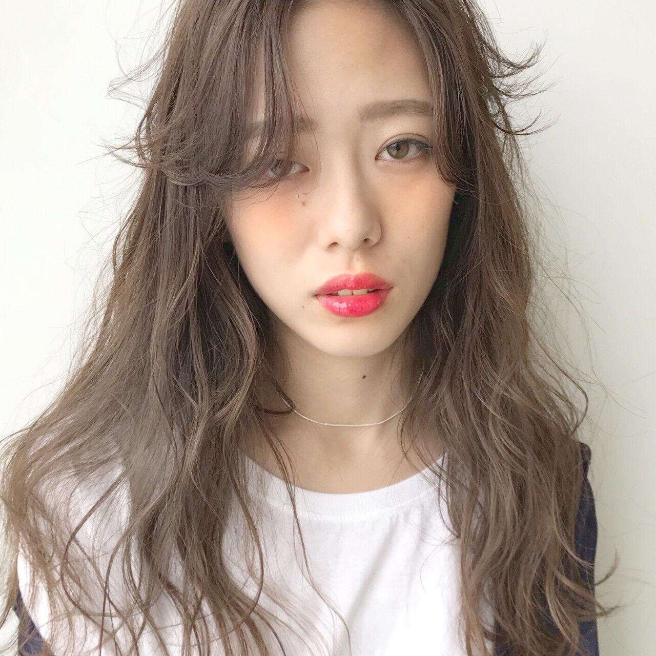 女子力 前髪あり アッシュ 抜け感ヘアスタイルや髪型の写真・画像