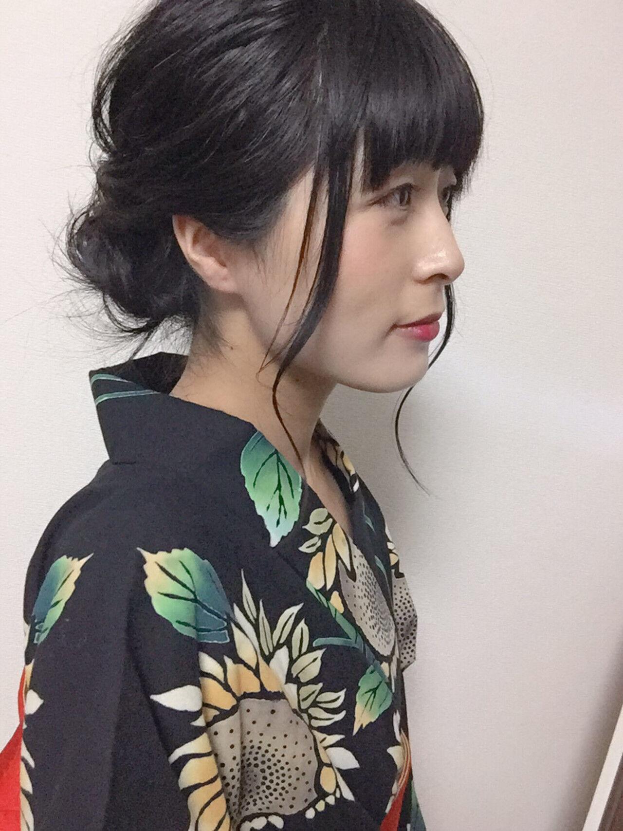 フェミニン 黒髪 ヘアアレンジ 浴衣ヘアヘアスタイルや髪型の写真・画像