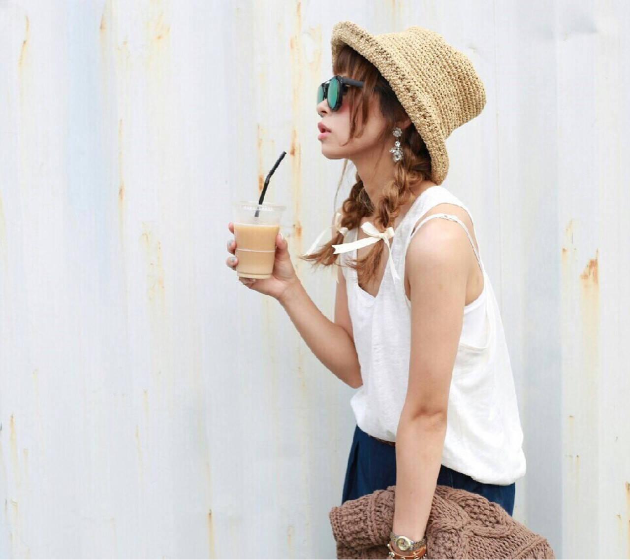 夏 ツインテール ヘアアレンジ セミロングヘアスタイルや髪型の写真・画像