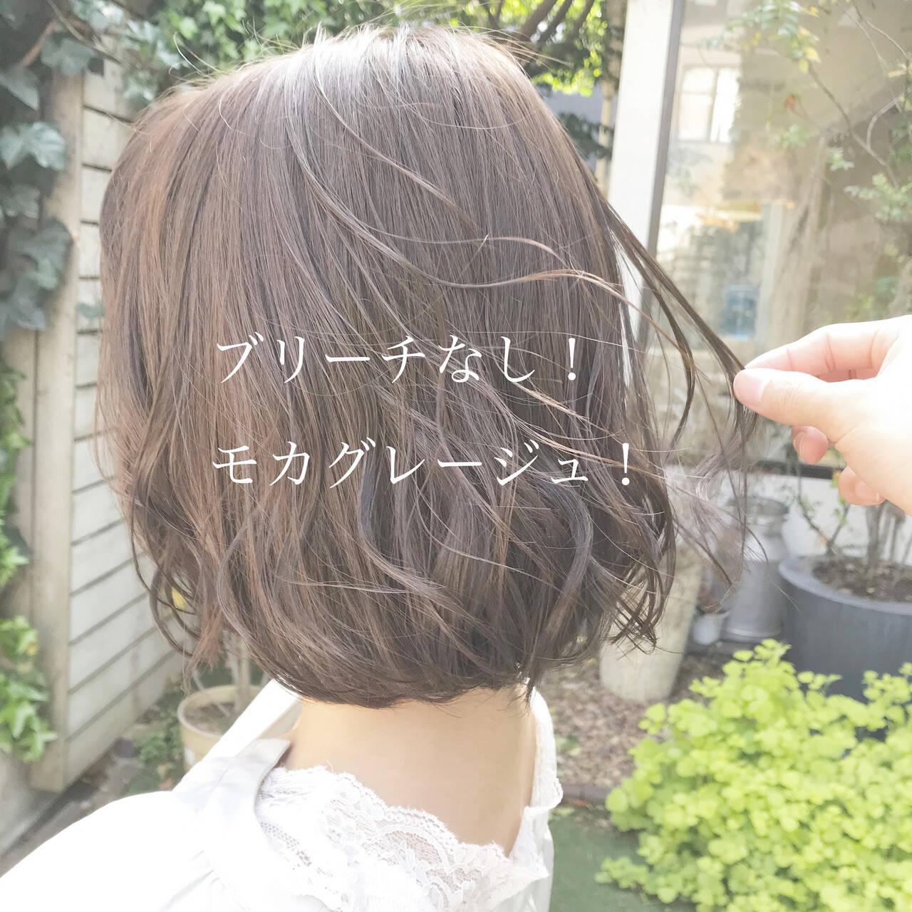 ヘアカラー グレージュ ブリーチなし ミルクティーベージュヘアスタイルや髪型の写真・画像