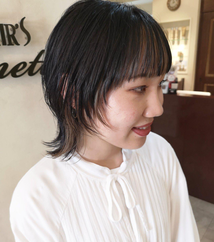 マッシュウルフ ストリート ナチュラルウルフ インナーカラーヘアスタイルや髪型の写真・画像