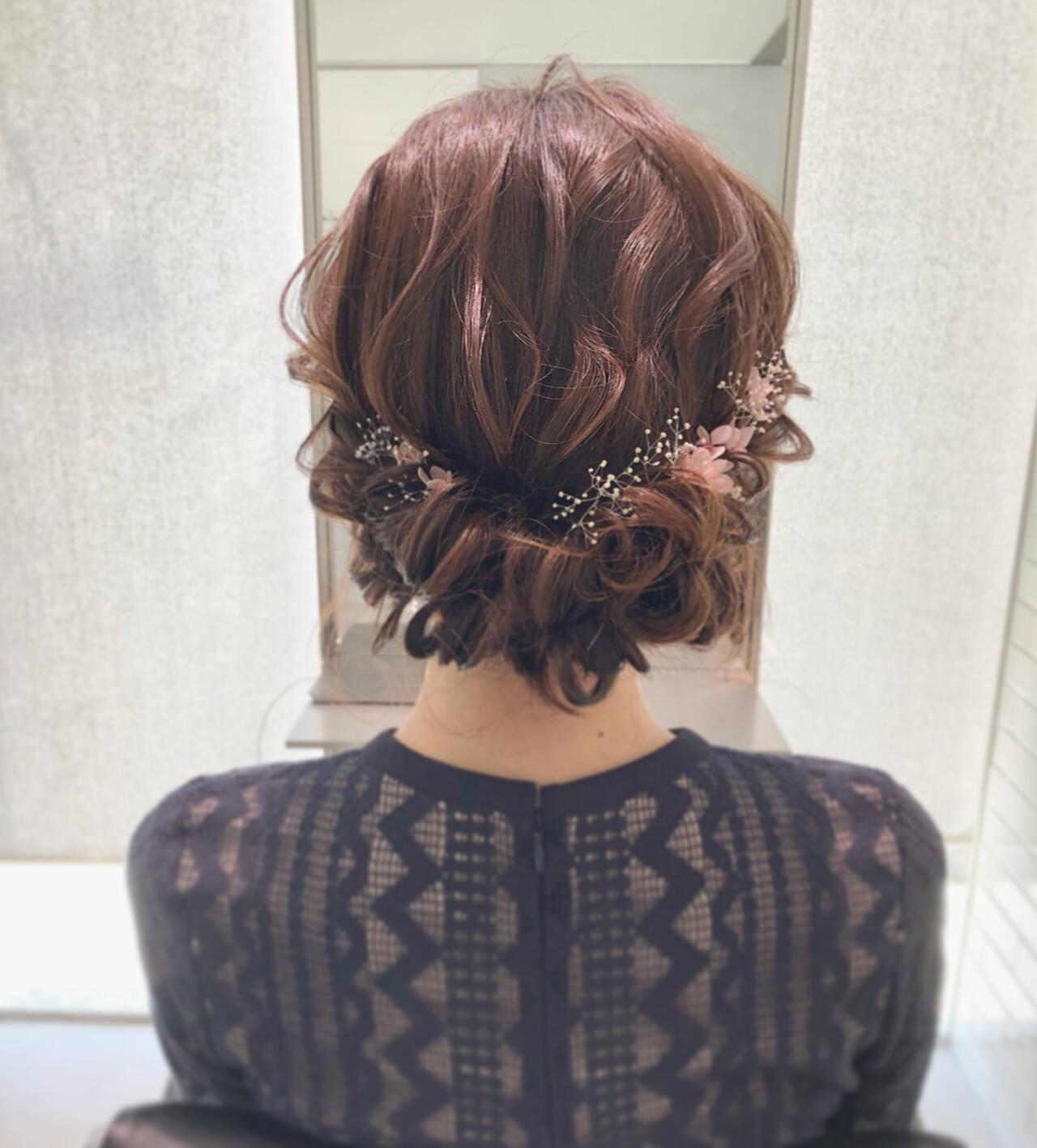 大人可愛い エレガント ギブソンタック 結婚式ヘアスタイルや髪型の写真・画像