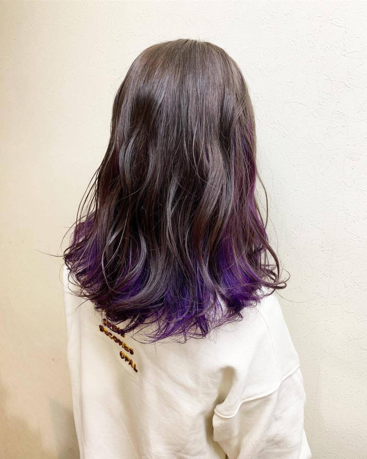 インナーカラー ガーリー グレージュ 外国人風カラーヘアスタイルや髪型の写真・画像