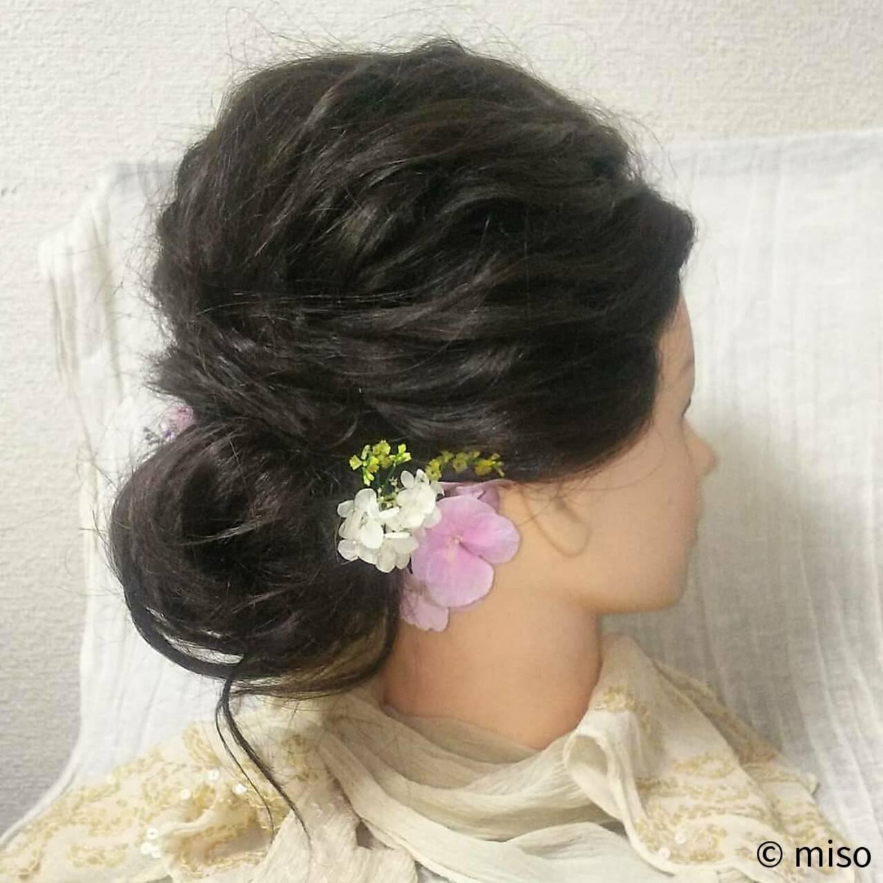 ブライダル 花嫁 セミロング ヘアアレンジヘアスタイルや髪型の写真・画像