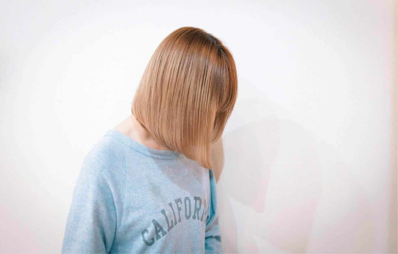 ナチュラル ミルクティーベージュ ベージュ ボブヘアスタイルや髪型の写真・画像