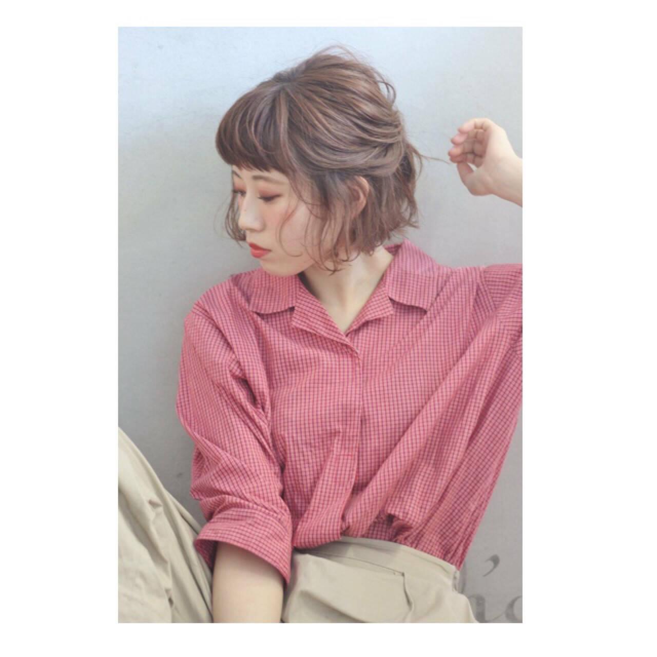 色気 ショート フェミニン ボブヘアスタイルや髪型の写真・画像