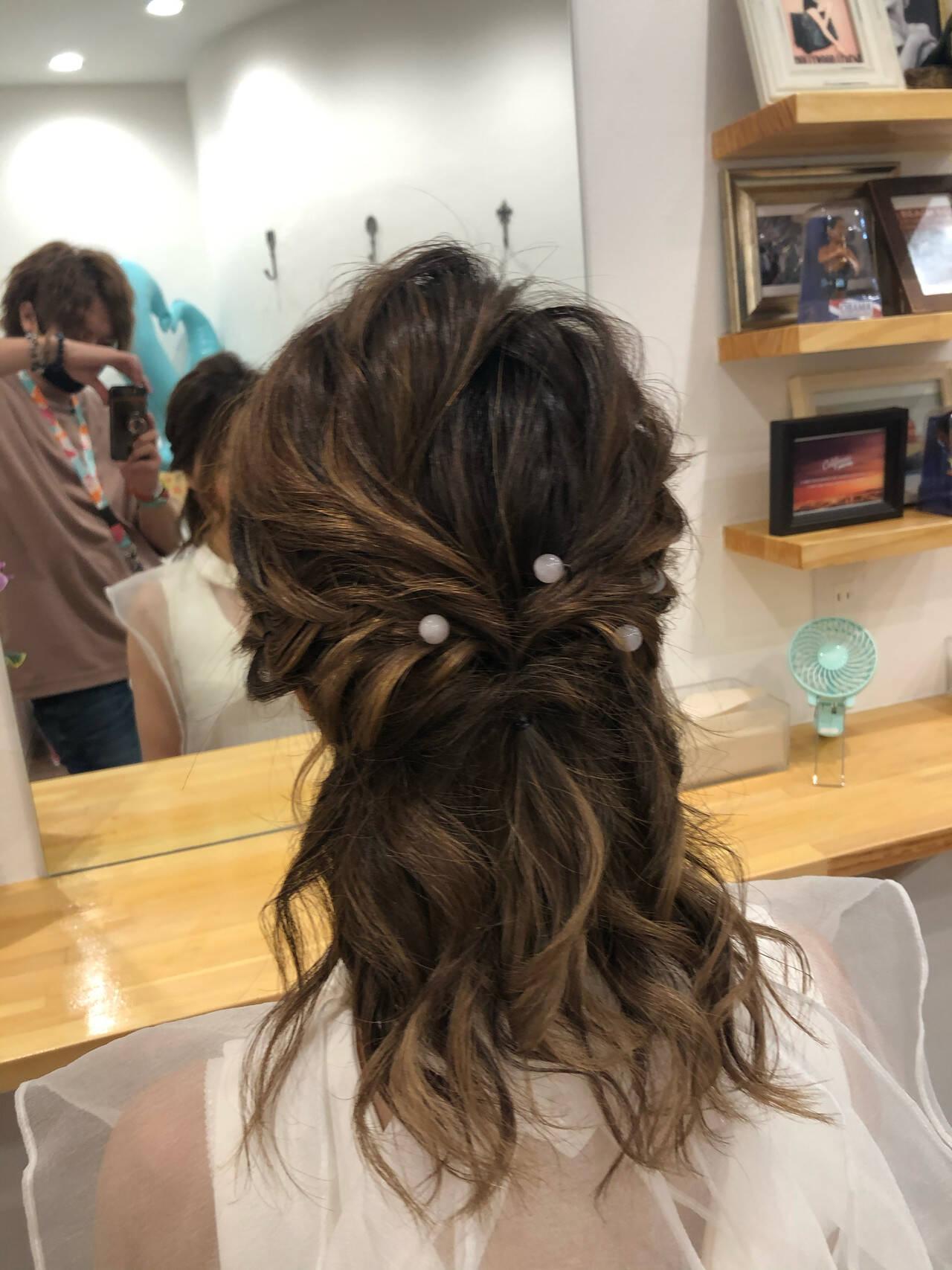 ヘアセット ヘアアレンジ ミディアム ナチュラルヘアスタイルや髪型の写真・画像