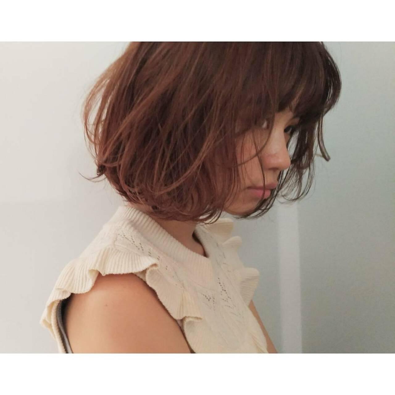 女子会 ボブ ヘアアレンジ パーマヘアスタイルや髪型の写真・画像