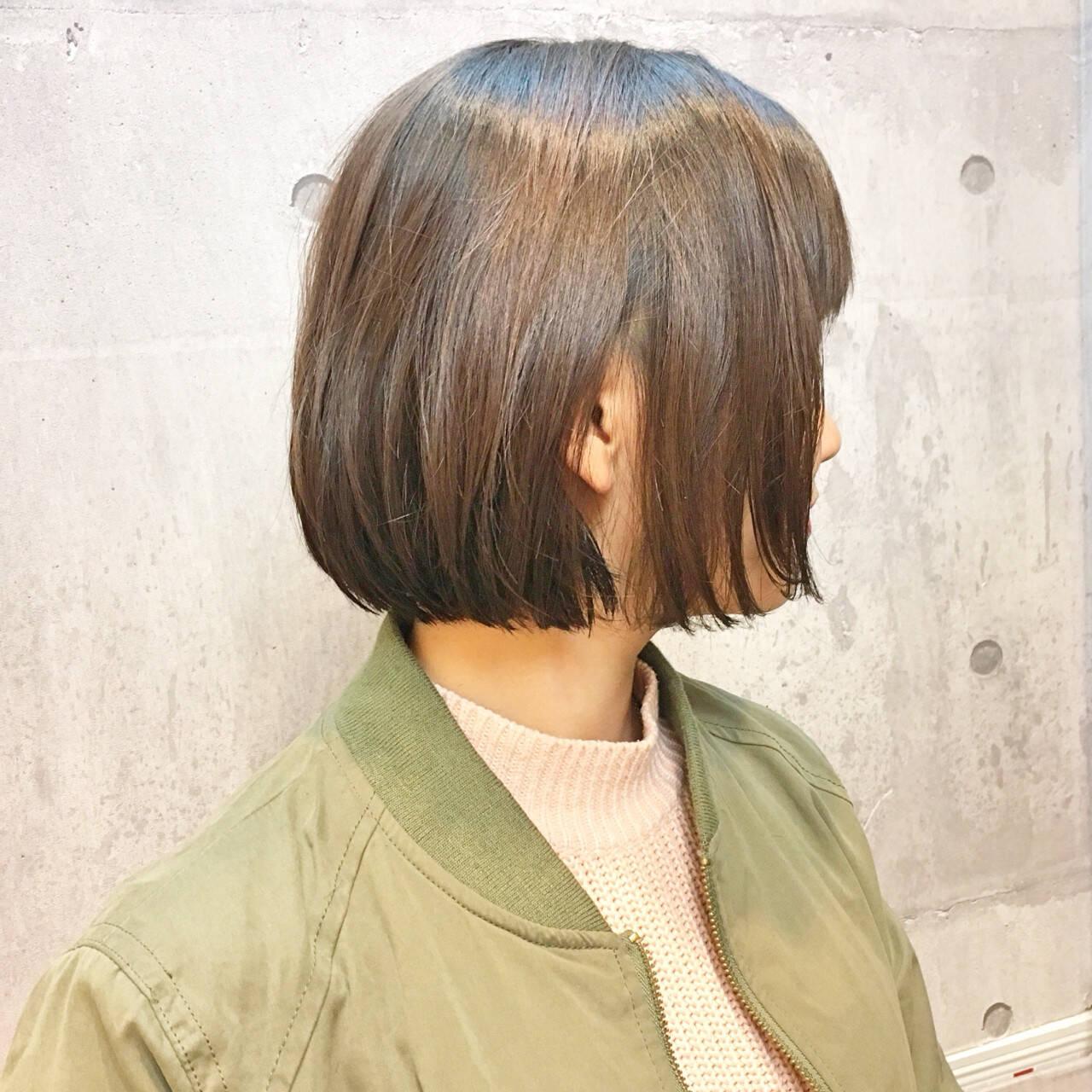 イルミナカラー ナチュラル 冬 ボブヘアスタイルや髪型の写真・画像