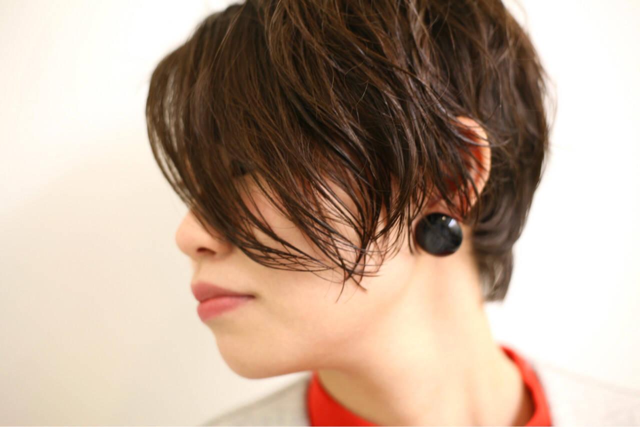 ショート パーマ くせ毛風 ショートボブヘアスタイルや髪型の写真・画像