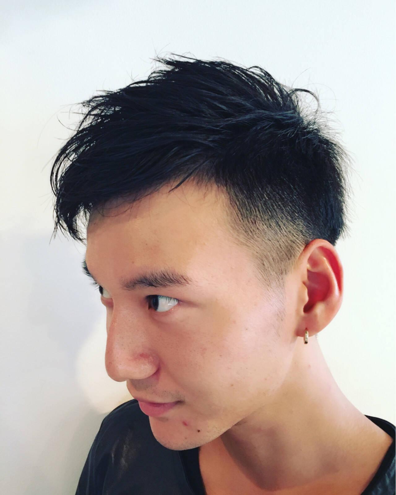 ボーイッシュ パーマ ショート 黒髪ヘアスタイルや髪型の写真・画像