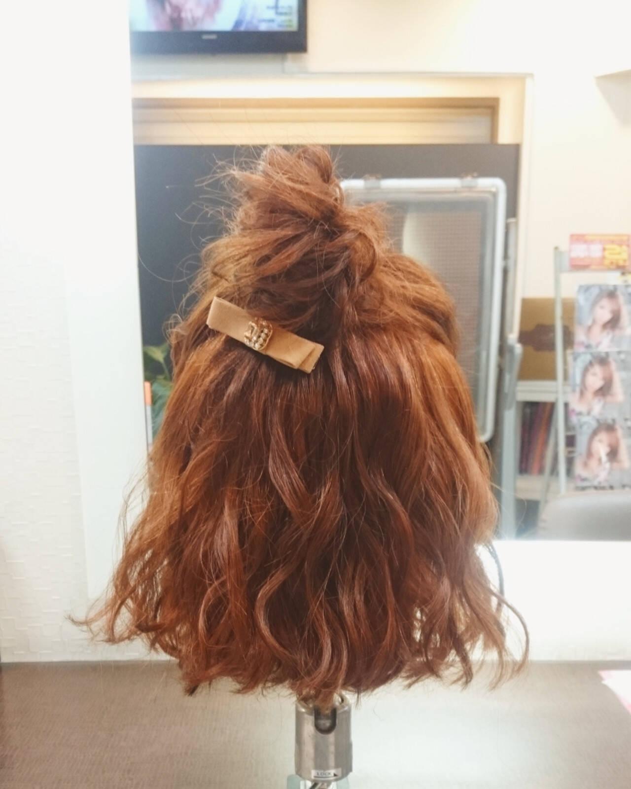 ボブ ハーフアップ ガーリー デートヘアスタイルや髪型の写真・画像