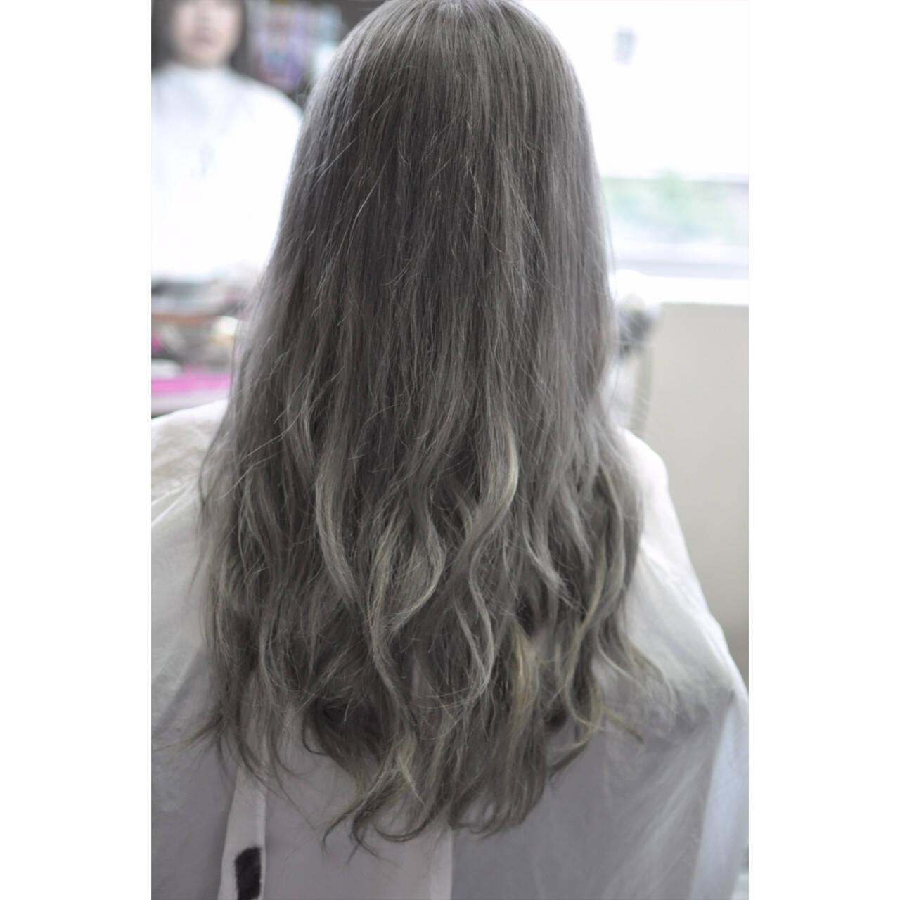 上品 外国人風カラー エレガント バレイヤージュヘアスタイルや髪型の写真・画像